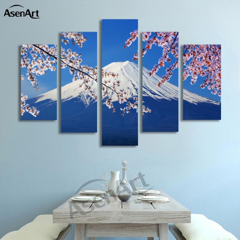 5 Panel Fujiyama Snow Mountain Sakura Japan Landscape Picture Painting Canvas Print Home Decoration Obrázek pro Living Room