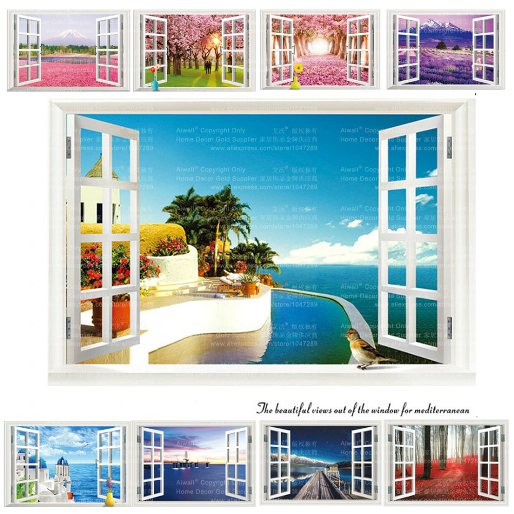 9 styles 3020 removable beach sea 3d window scenery wall for Beach wall mural sticker