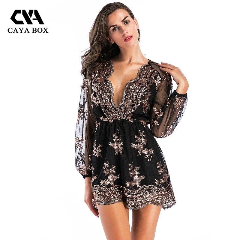 CAYA BOX cross-border women Sequin jumpsuit V long sleeve one piece shorts  bodysuit women women rompers 5bb448f83