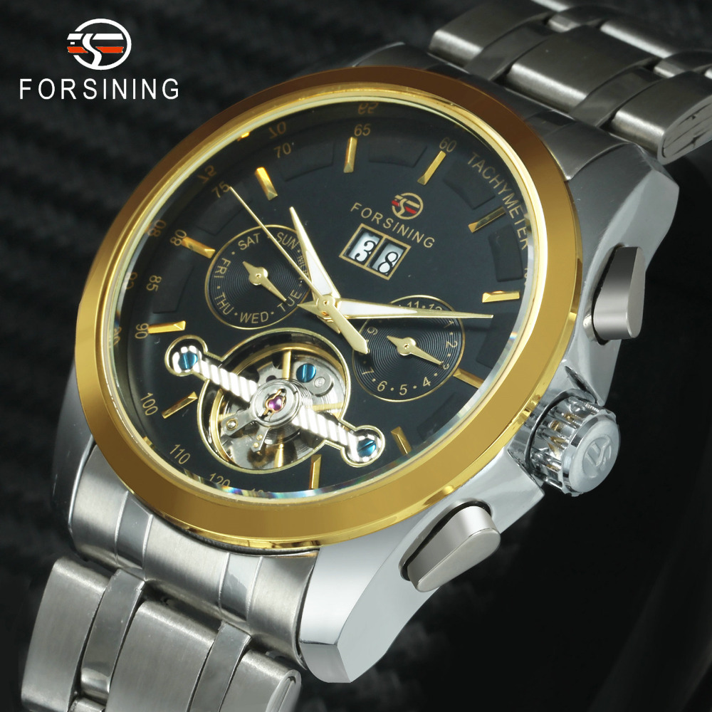 FORSINING Fashion Mens Auto Mechanical Watches Full Stainless Steel Wristwatches Imported Movement Tourbillon Sub-dials 2019FORSINING Fashion Mens Auto Mechanical Watches Full Stainless Steel Wristwatches Imported Movement Tourbillon Sub-dials 2019
