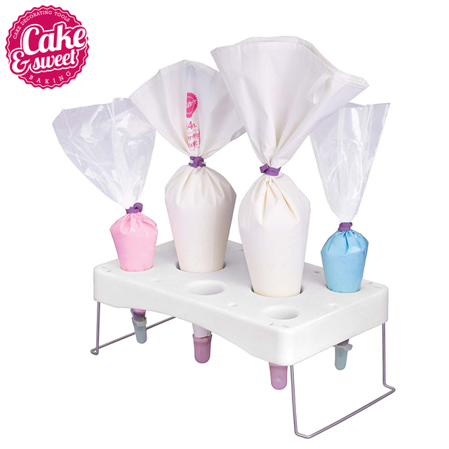 Plastic Fondant Cake Nozzle Tips Bags Stand Holder Baking Pastry Tools Classic Cake Decorating Accessories
