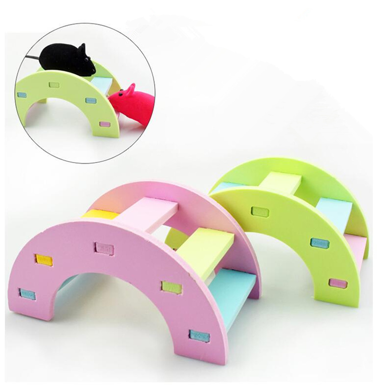 Rainbow Bridge Hamster Toys Guinea Pig Hamster Wooden Toy Physical Training Toys Small Tiny Pet Toy Hanging Climbing Ladder