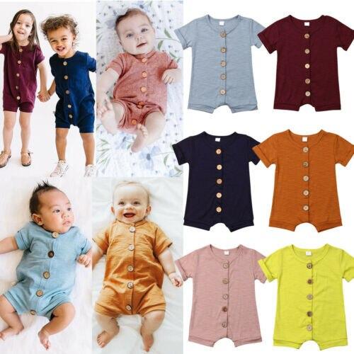 Baby Boy Girl Cotton Short Sleeve Romper Jumpsuit Sunsuit Outfit Clothes
