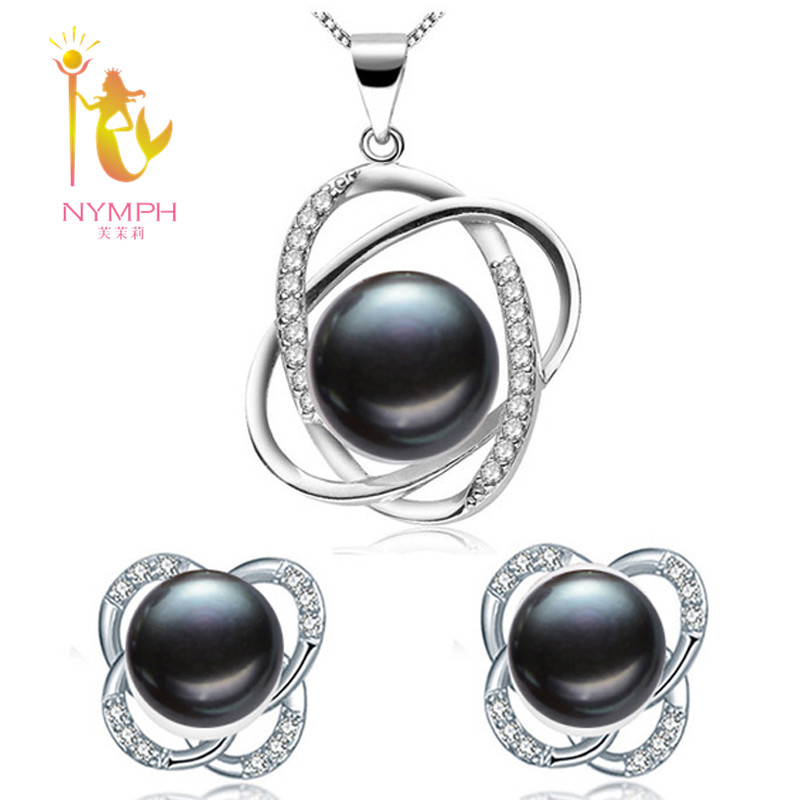 NYMPH Wedding Pearl Jewelry Set Pearl Jewelry Natural Fresh Water Pearl Necklace Pendant Earrings with