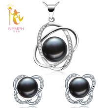 [Nymph] свадьба перл комплект ювелирных изделий ювелирные изделия перлы природный пресной воды жемчужное ожерелье кулон серьги с коробкой роуз [t202]