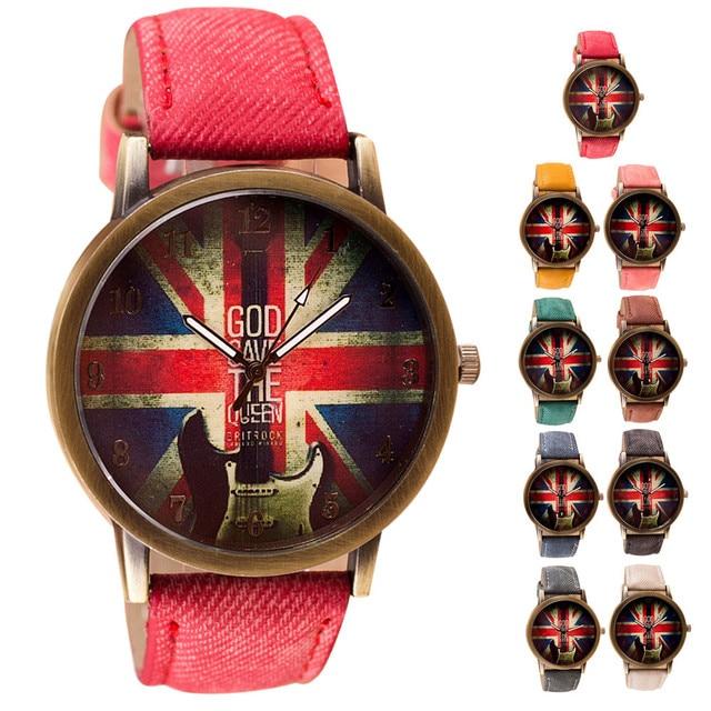 Quartz-Watch Women Men Watch Femme Pattern British Flag Vintage Music Guitar Lea
