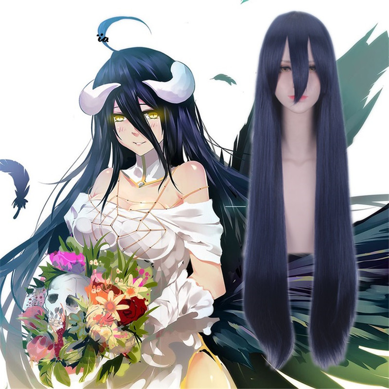 100cm New Anime Overlord Albedo Purple/Dark Blue Long Straight Wig Cosplay Costume Women Synthetic Hair Halloween Party Wig