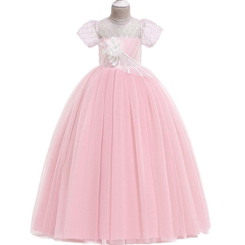 New Princess Pageant Evening Party Long Dress First Communion Dresses Elegant Pink Flower Girls Dress Fluffy Vestido Comunion