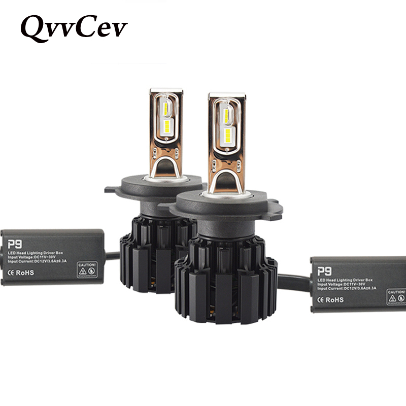 купить QvvCev Led H4 P9 Auto ZES 9003 H7 LED Car Headlight Hi/Lo Beam Lights 100W 13600LM Automobile Lamps Bulbs Fog Light Car Styling по цене 6112.98 рублей