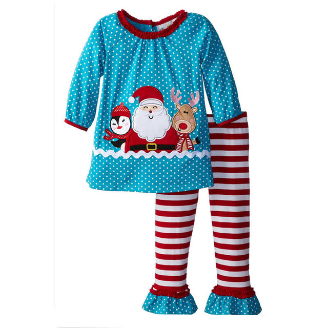 2017 new baby girls christmas pajamas set striped cotton pjs kids 2pcs t shirt ruffle pants