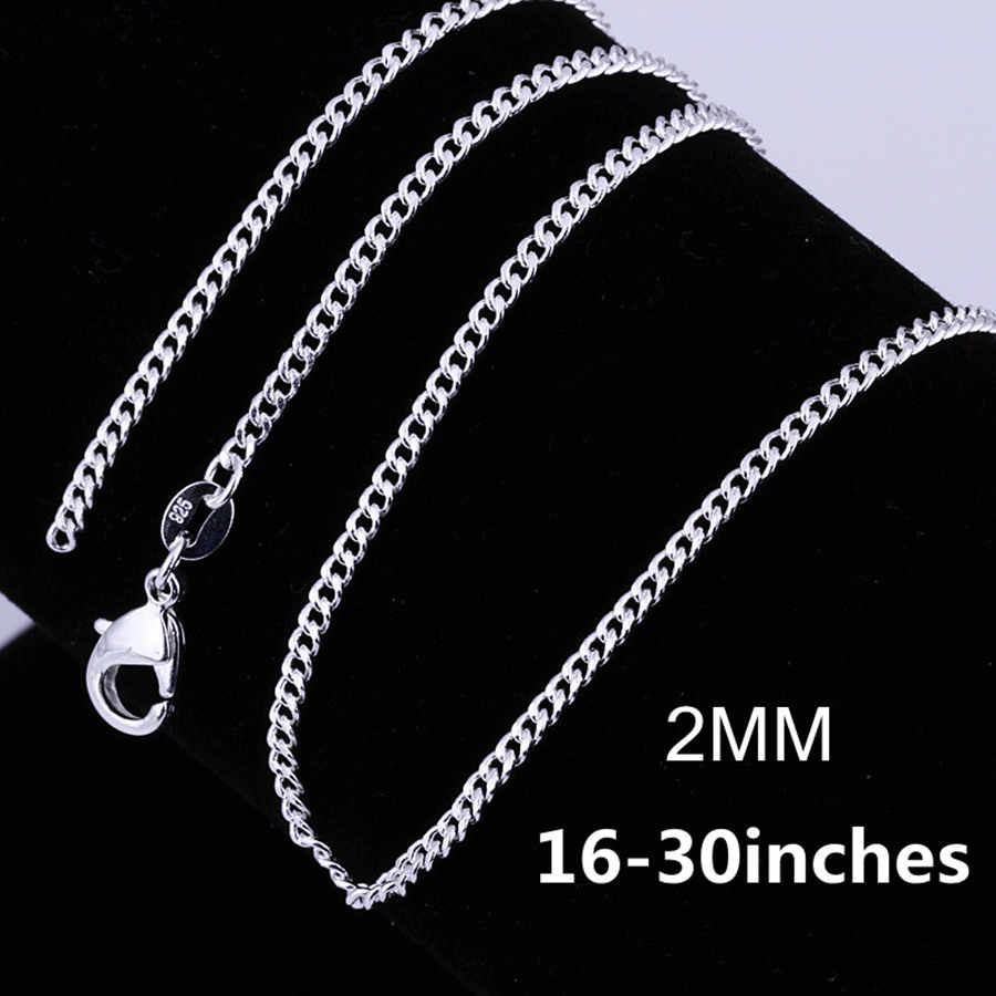 Wholesale 16-30 inches silver color 2MM chain A Necklace jewelry Beautiful fashion women men charm pretty lovely LN029