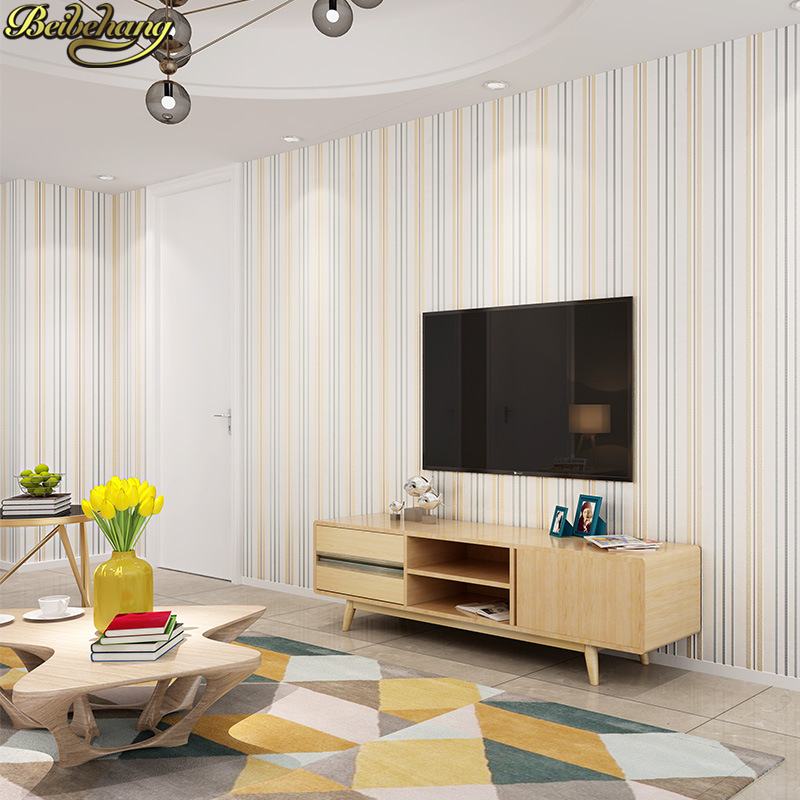 Купить с кэшбэком beibehang Simple modern vertical stripes solid wall Paper papel de parede 3D Wallpaper for living room wall papers home decor