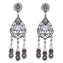 MYTHIC AGE Vintage Cute Antique Silver 6 Color Resin Bohemian Tassel Water Drop Dangle Earrings For Women Jewelry Red Blue Green