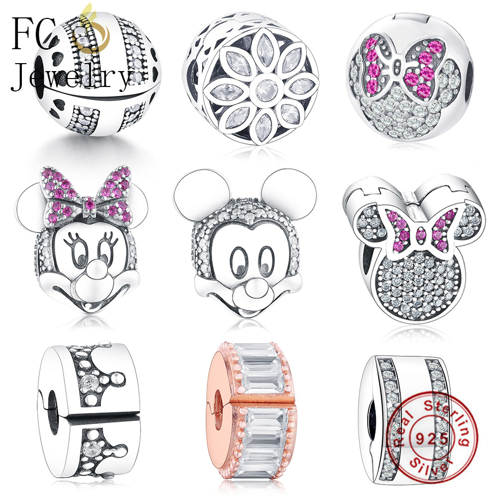 FC Jewelry Fit Original Pandora Charm Bracelet Authentic 925 Silver Mickey Minnie Heart Enamel Clip Stopper Bead Berloque Gifts
