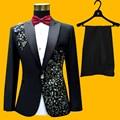 Плюс Размер Мужские Костюмы (куртка + Брюки) S-4XL Мода Черный Блестка Вышитые Певец Тонкий Производительность Пром Костюм