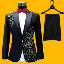 Plus Size Abiti Da Uomo (giacca   Pantaloni) S-4XL Fashion Nero Paillette Ricamato Maschio Cantante Prestazioni Sottile Promenade Del Partito Del Costume