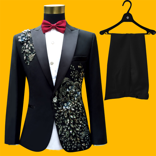 Plus Size Men Suits ( Jacket + Pants ) S-4XL Fashion Black Paillette Embroidered Male Singer Slim Performance Party Prom Costume