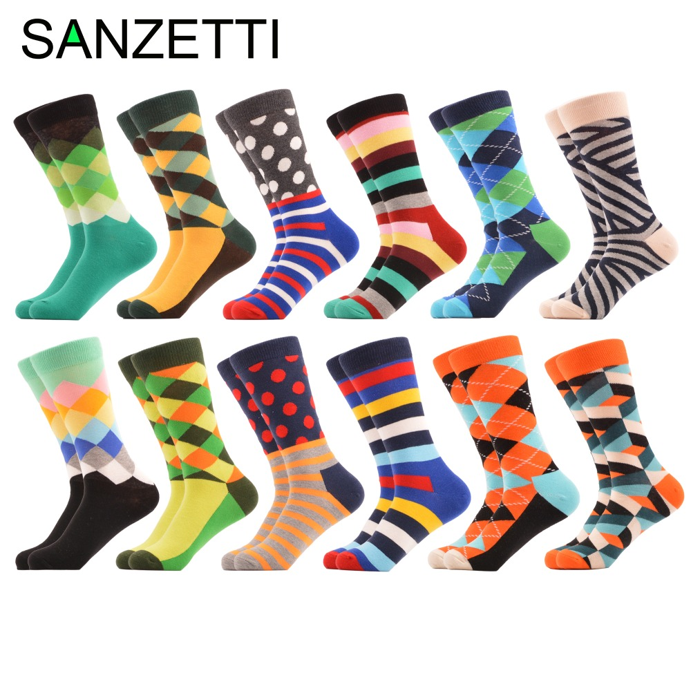 SANZETTI 12 Pairs/lot Mens Dozen Pack Combed Cotton Socks Argyle Dot Pattern Green Blue Colorful Casual Socks Dress Crew Socks
