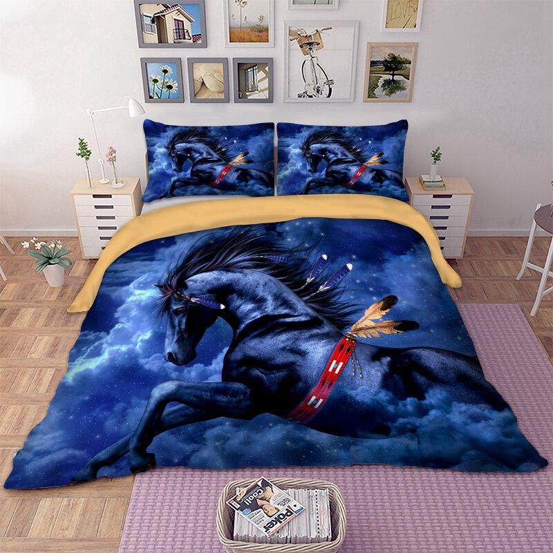 BEST. WENSD cheval bleu ciel blanc nuages literie reine taille 3 pièces ensemble de couette super roi ensembles de couette-pas de couvre-lit ropa de cama