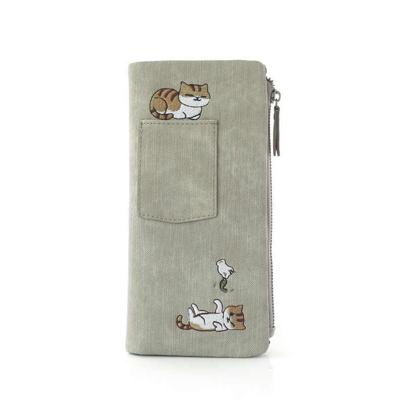 Милая Вышивка мультяшного кота, женский холщовый кошелек с изображением животных, милые женские визитницы для карт, аниме, вышитая визитница кошелек для девочек