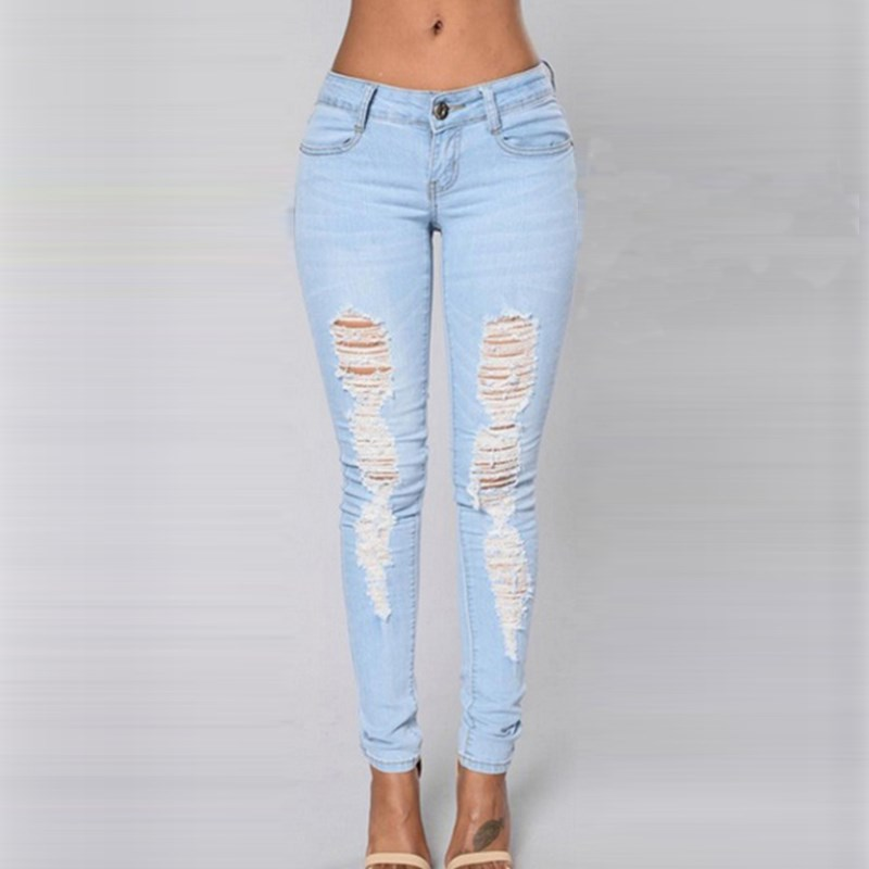 New Fashion Women Sexy Holes Jeans Denim Trousers Pants 2017 Ladies Casual Spring Summer Skinny Ripped Pencil Pants Blue women sexy holes jeans new fashion ladies elastic waist skinny stretch ripped nine pencil pants casual denim trousers streetwear