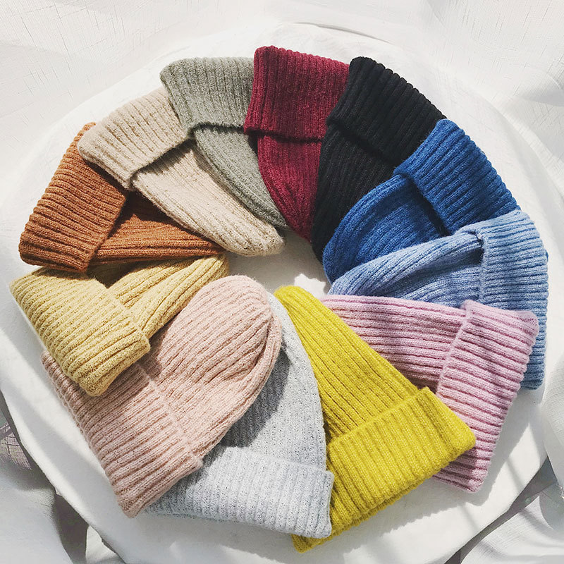 2018 Womens Warm Winter Hats and Caps Knitted   Skullies     Beanies   Hats Solid for Men Stocking Hats Female Fashion Wool   Beanies   Caps