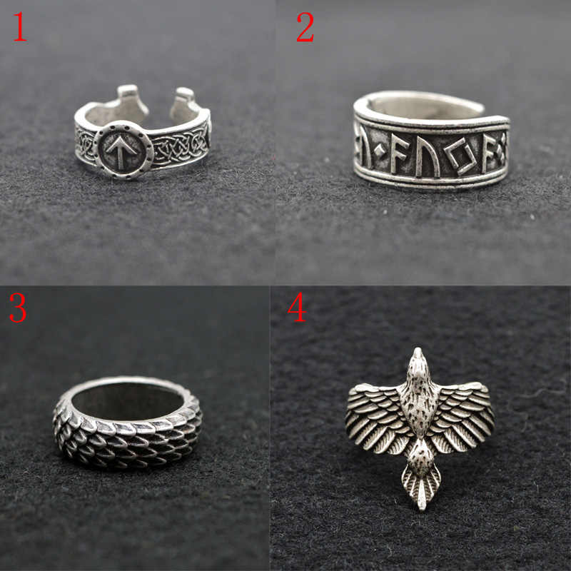 Retro viking fans rings for women men viking rune guard ring animal dragon rings