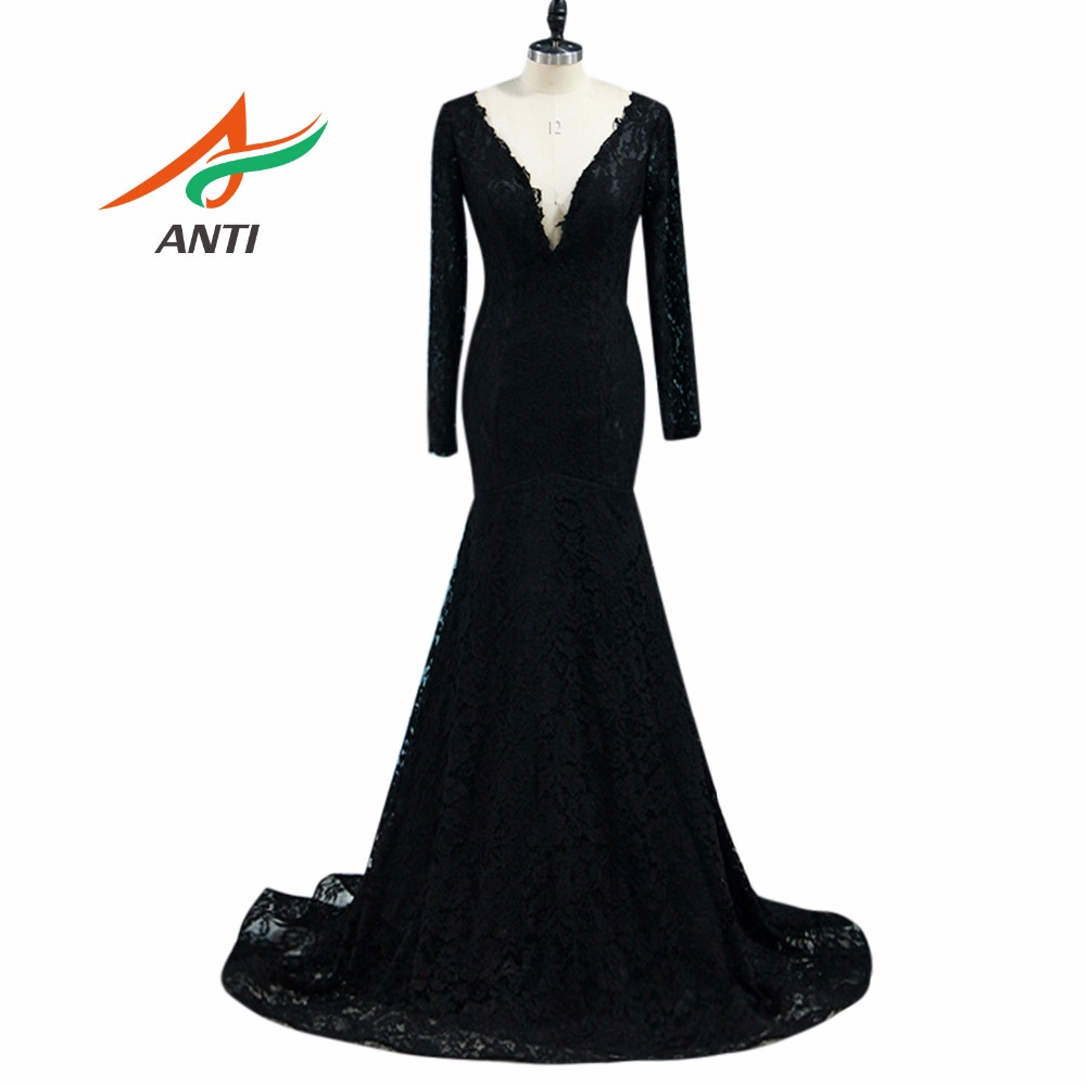 ANTI Sexy Lace Long Evening Dress 2018 Temperament Formal Dresses Party Mermaid Evening Gown Robe De Soiree V-Neck Fast Shipping