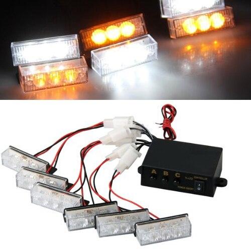 10x)  18 LED Luz Estroboscopica Strob Lmfor Amarillo Blanco Coche