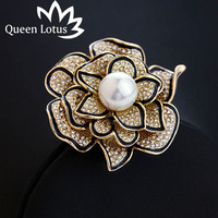 New high quality fashion Zircon women's brooch 2017 luxury ladies roses pearl brooch accessories factory direct jewelry 1862127