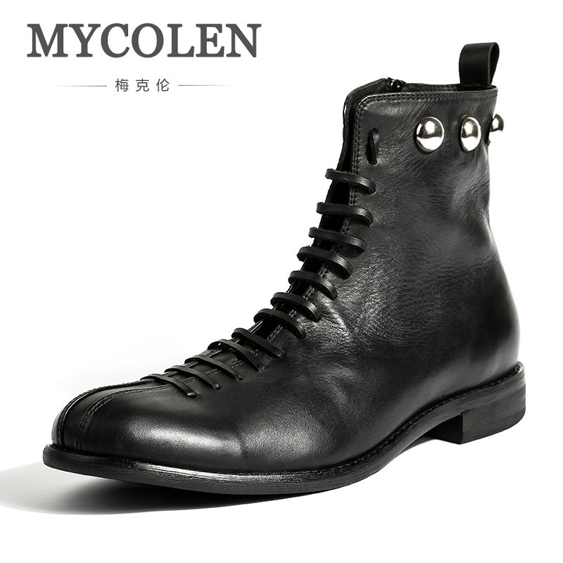 MYCOLEN Fashion Casual Men Winter Shoes Genuine Leather Men Boots Comfortable Keep Warm Shoes Round Toe Lace-Up Men Boots цена