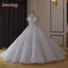 Fora do ombro vestido de noiva branco vestido de baile 2019