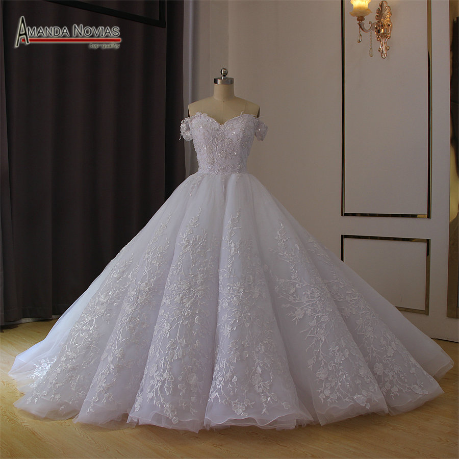 Off The Shoulder White Wedding Dress Ball Gown 2019-in
