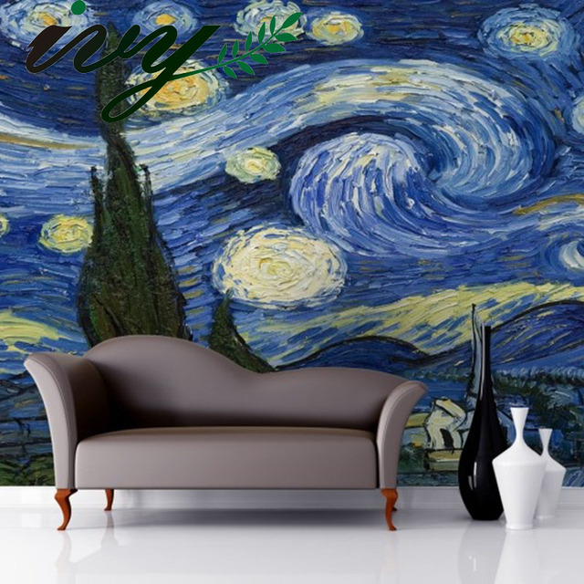 IVY MORDEN Vintage Van Gogh Art Mural Wallpaper 3D Large Murals Walls  Starry Night Painting Wall Part 9