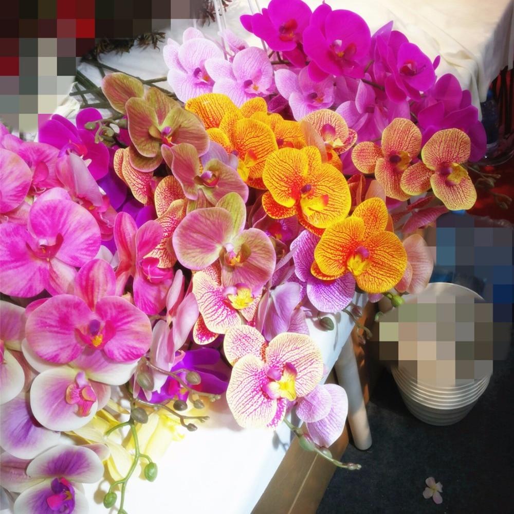 """5пцс Орхидеја лептира Велике величине Умјетни прави додир Латек Пхалаенопсис 40 """"за вјенчане централе и украсне цвијеће"""