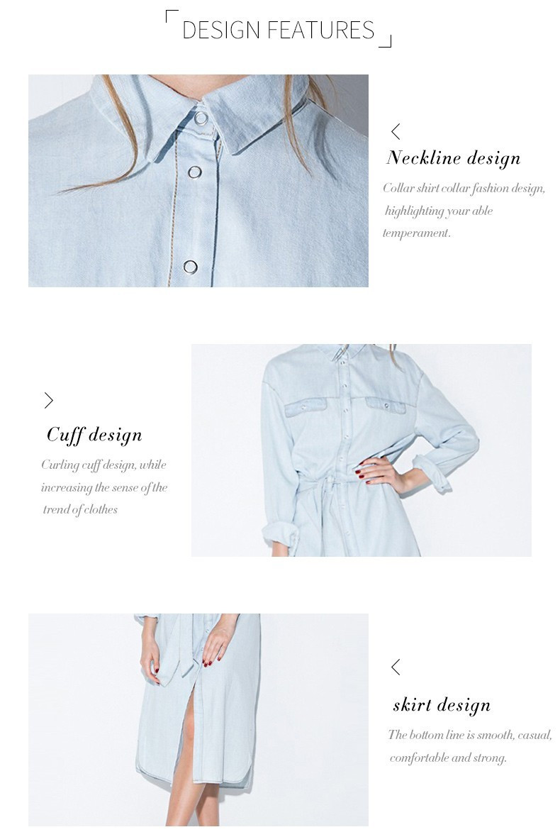 HDY Haoduoyi Women Retro Dress Denim Front Belt Casual Vintage Blue Solid Midi Shirt Robe Femme Vestido Hot Sale 10