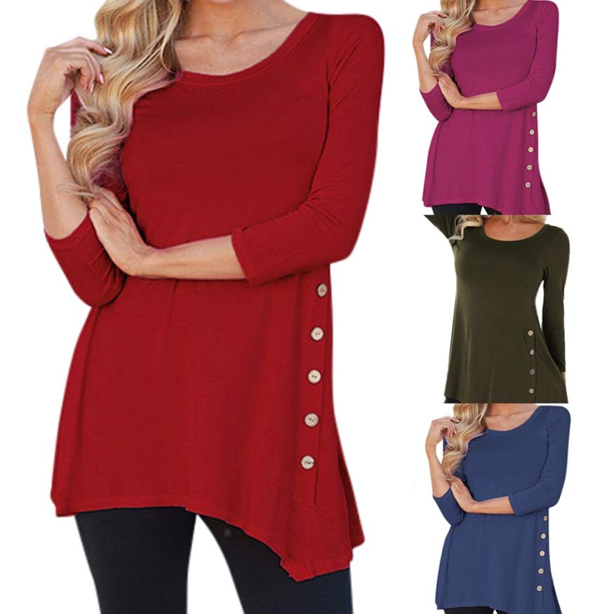 New arrival women long sleeve loose button trim tees solid color round neck tunic t-shirt o-neck irregular shirts