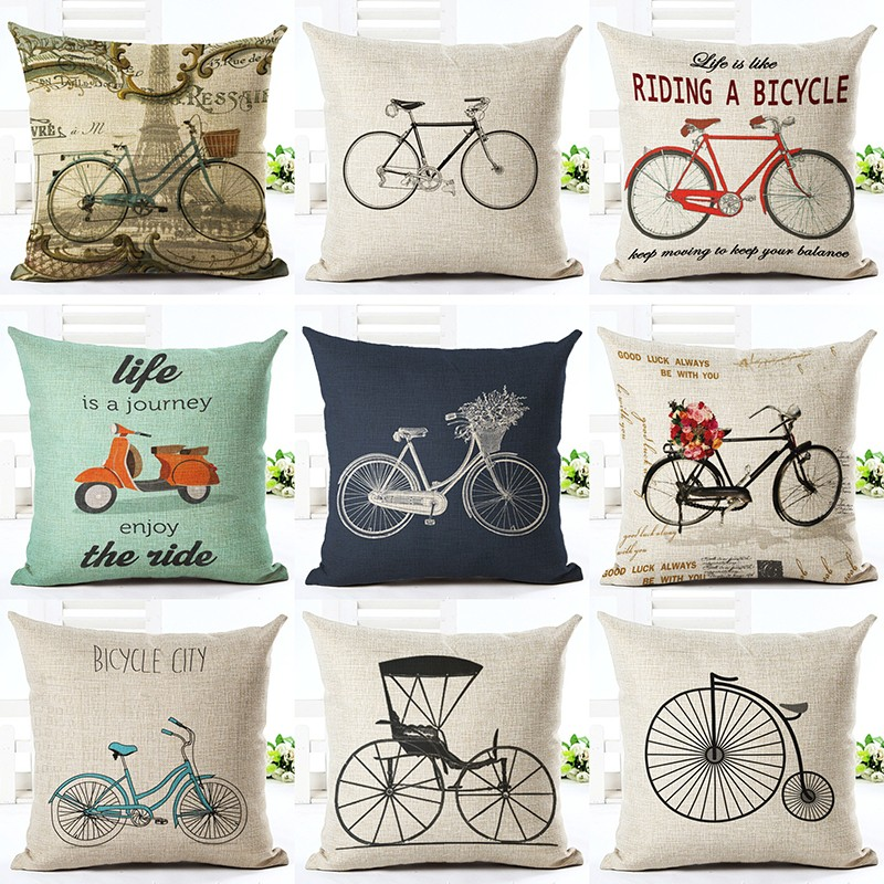 אופנה למעלה וינטג 'זול לזרוק כרית כרית בית תפאורה ספה אופניים שונים מודפסים פשתן Cuscino כיכר Cojines Almohadas