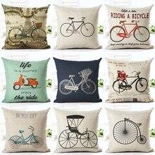 Funda de cojín barata Vintage de moda superior para decoración del hogar, funda de almohada de lino estampada con varias bicicletas, Cojines cuadrados