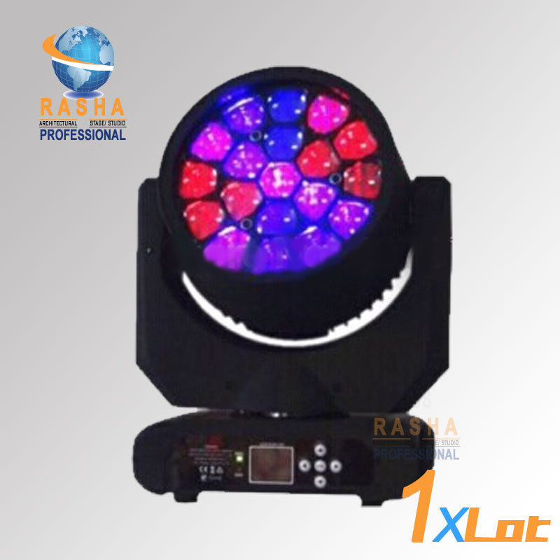Rasha New Arrival 19pcs*12W 4in1 RGBW LED Big Bee Eye Moving Head Beam+Wash Light For Event Party,LED Moving Head Beam Bee Eye