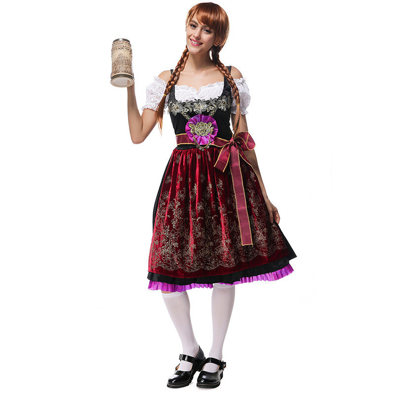 Deluxe Velour Beer Girl Costume Bavarian Germany Beer Maid Waiter Party Dress Oktoberfest Girl Fantasia Infantil Halloween Costu