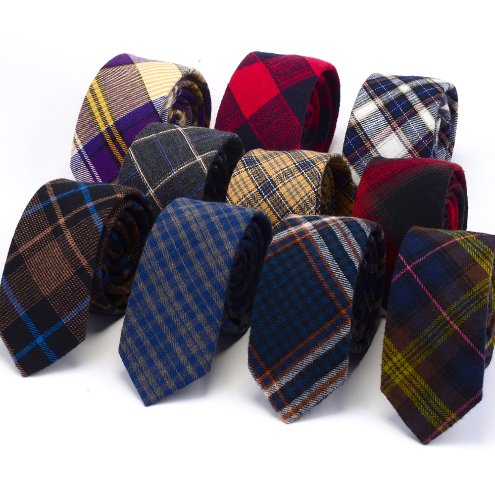 RBOCOTT Mens Cotton Ties Striped Fashion Casual Skinny Necktie Plaid Slim Tie 6cm Red Green Blue Yellow Colors For Man Wedding