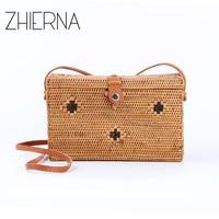 ZHIERNA 2017 Chic Style Beach Bags Popular Envelope Clutch Bag Genuine Leather Strap Handbags Women Straw Bag Rattan Crossbody