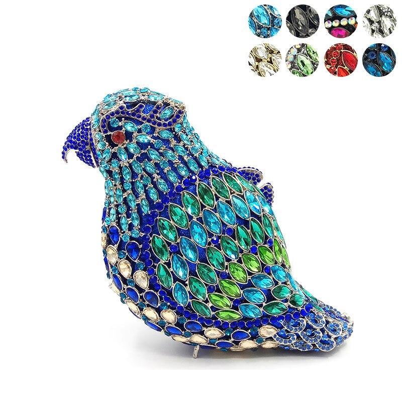 Bagaj ve Çantalar'ten Üstten Saplı Çanta'de Bayanlar çanta Gelin düğün parti çanta kadın akşam parti çantası elmas kuş papağan kristal manşonlar zarif kristal çanta'da  Grup 1