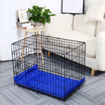 PAWZRoad Domestic Delivery Pet Dog Cage Crate Double-Door Pet Kennel Collapsible Easy Install Fit Your Pets 5 Sizes Pet House 5