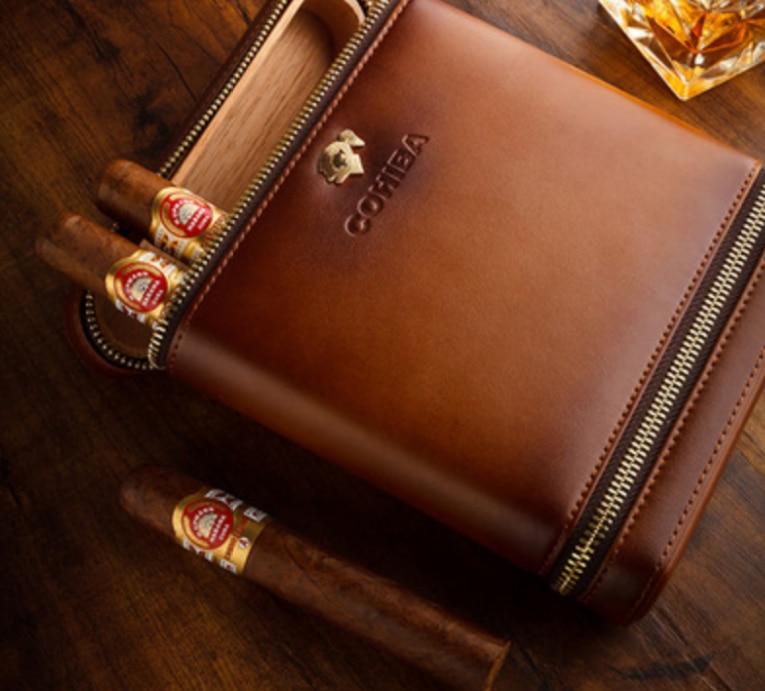 Creative High Grade Cigar Accessories Travel Cigar Leather Case High Quality Cedar Portable Cigar Humidor Smoking Supply LFB446