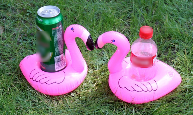 800pcs Pink Flamingo Inflatable Drink Holders Floating Toy Pool Party Bath drinking cup Seat Boat Cell Phone Holder Stand Pool