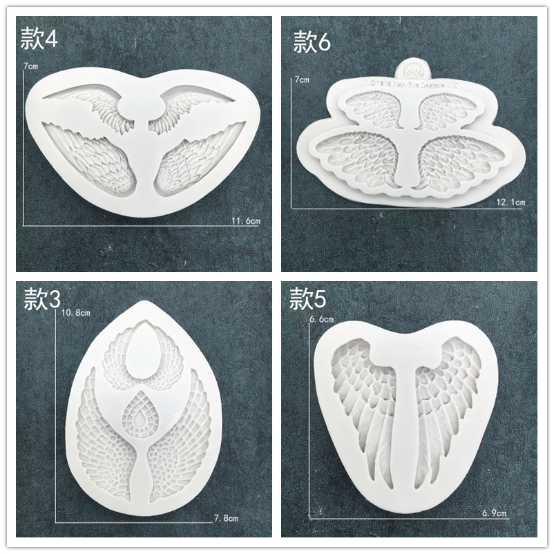 <font><b>Angel</b></font> <font><b>Wings</b></font> Collection Series DIY Chocolate Cake Flip Sugar <font><b>Silicone</b></font> <font><b>Mold</b></font> Cake Decoration Die WMJ-270 image