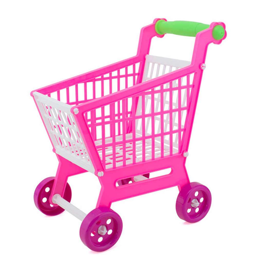 Детская мини-пластиковая тележка из супермаркета, тележка для покупок, тележка для хранения, коляска для ролевых игр