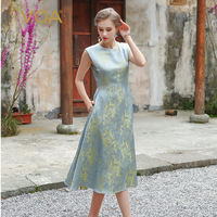 VOA Winter High End Stereo Jacquard Yarn Dyed Silk Dress Yellow Blue Print Ball Midi Dress